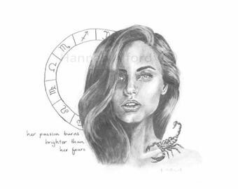 Scorpio Zodiac Boho Art Print