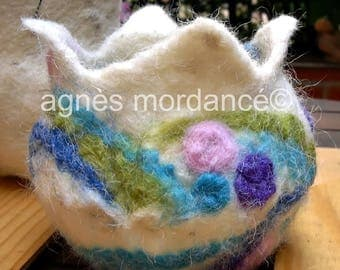 Merino Wool felted - unique jar