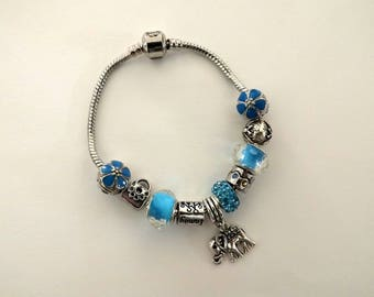 Bracelet beads charm turquoise charm elephant gift idea for her