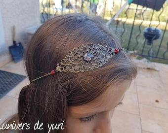 Red and black head jewelry headband