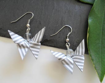 Silver origami butterfly earrings