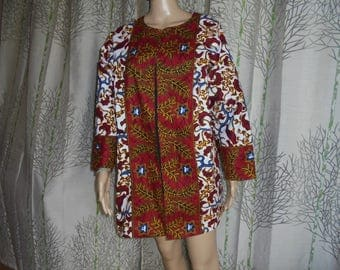 African style wax kimono jacket buttoned with two original prints.