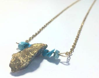 Raw Turquoise And Gold Titanium Quartz Necklace
