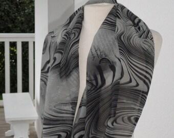 Snood écharpe tube tour du cou foulard  femme crêpe gris et noir lineva