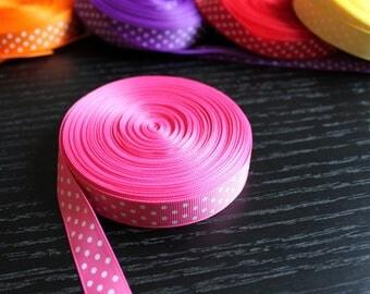 Ribbon with white dots Pink Ribbon by the yard grosgrain Ribbon
