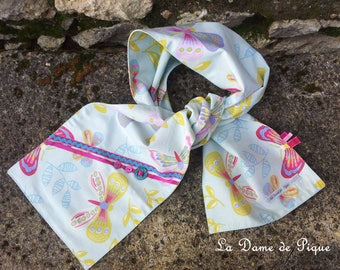 Child's scarf in light blue cotton multicolored patterns