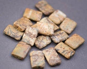 4 pcs - flat rectangle • • Brown ochre Jasper beads veins color natural • 20mm x 15mm