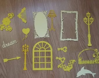 16 yellow cuts for your scrapbooking creations.