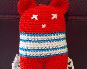 Red Teddy bear, amigurumi, plush blanket