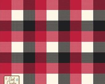Black Red Cream Buffalo Plaid Cotton Jersey Blend Knit Fabric **UK Seller**