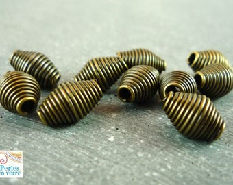 20 beads bronze spacer beads, 8X6mm (pm78)