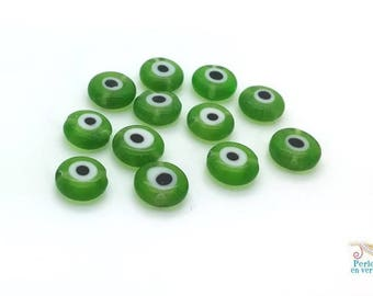 12 black and green evil eye beads 8mm, (pv158) glass beads, Apple
