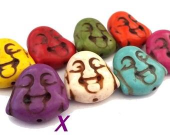 2 beads purple Buddha howlite 10x18x20mm (PH89)