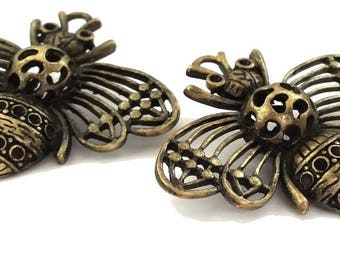 1 bee 48x57mm Steampunk pendant, bronze color, nickel free (BRE323)
