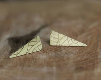 Etched brass triangle earrings
