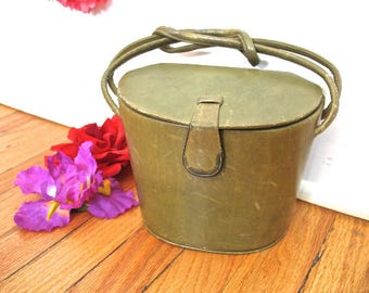 30s 40s Green Leather Purse Handbag Box Mirror Knot Handle Art Deco by Theodor