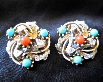 50s 60s Earrings White Gold Tone Blue & Orange Beads Clip On by ART