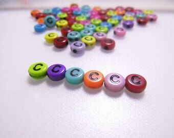 LETTERS COLORS - C - 7MM ACRYLIC BEADS