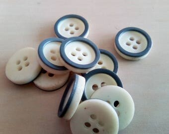 set of 10 buttons round fantasy marl grey plastic