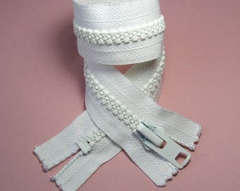YKK zipper closure, white, 44 cm, not separable, stitch injected 8 mm.