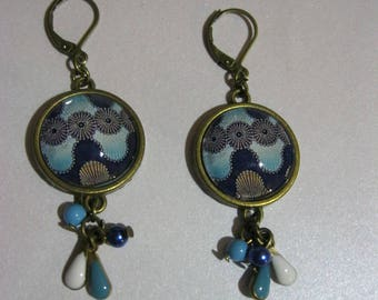 """Earrings retro/vintage Bronze with 18 mm cabochon glass"" blue shapes geometric African fabric """