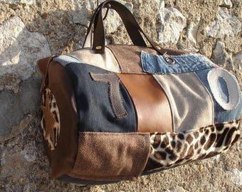 Duffel - jean - wool herringbone - fur - suede - leather - blue - Brown