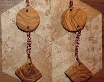 Rustic wood Earrings: Olive