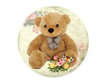 2 cabochons 12 mm glass Teddy Bear brown bear - 12 mm