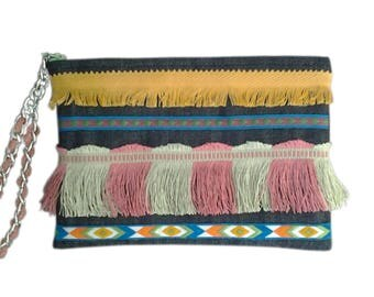 Clutch/pouch ethnic Navajo woman in denim and multicolored fringes yellow/green/pink. silver chain and cotton strap coral
