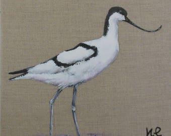 "Painting ""The Avocet"" animal painting Bird on natural linen."