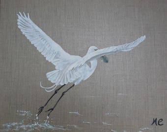Bird painting Great Egret