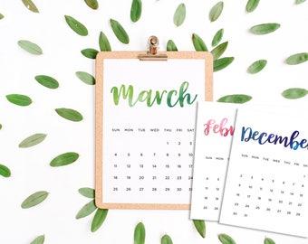 Watercolor 2017 - 2018 calendar (16 months)