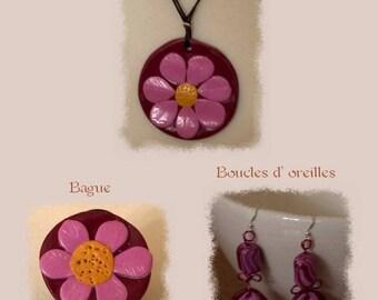 Vintage flower - Garnet and pink set