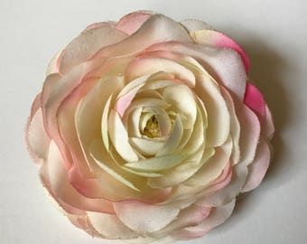 Blush Ranunculus, Silk Flower, Large-Sized, Choose as Pin or Hair Accessory