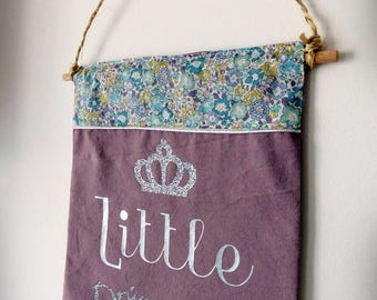 "Coat of arms decorative print ""little princess"" cotton and liberty"
