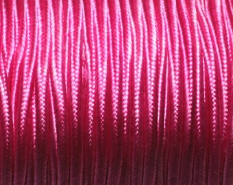 Coil 45 metres approx - cord lanyard fabric Satin Soutache 2.5 mm pink Fuchsia