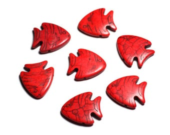 10pc - beads stone Turquoise synthetic - fish 26 mm red - 4558550088161