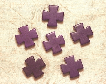 2PC - synthetic Turquoise beads - 25mm purple 4558550028723 cross