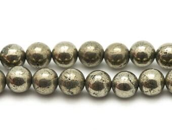4pc - stone beads - Golden Pyrite balls 10mm 4558550007841