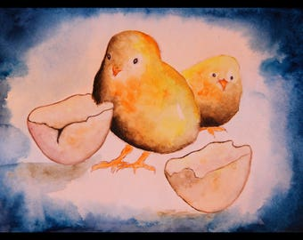 Original illustration painted in watercolor on paper 300 g/m²
