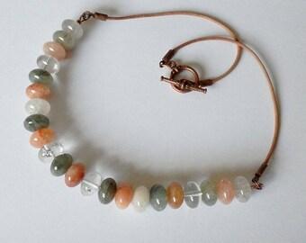 Rutilated quartz Calypso necklace, leather and copper metal