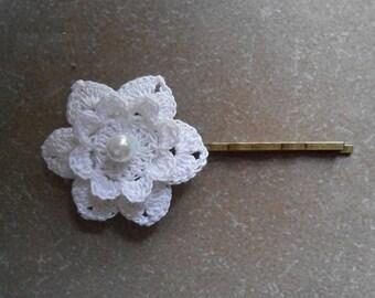 marriage STIFF cotton crochet flower clip