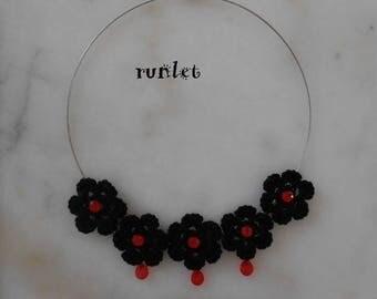 Black crochet flower black flower Choker. the Choker, necklace