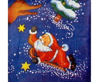 Set of 3 paper napkins NOE065 Santa Claus and reindeer sled