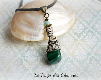 Pendant ethnic tribal amulet polymer clay and semi-precious malachite stone