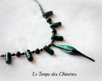 Black and green beads tribal ethnic necklace handmade polymer clay