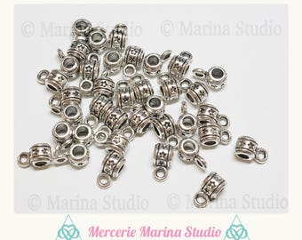 10 antique silver original bails 5mm with stars