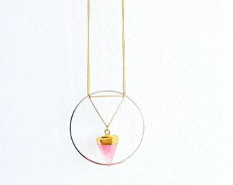 Gold necklace - geometric triangle/circle - pink agate