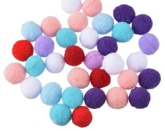 30 tassels round Ø 15 mm x about bright colors