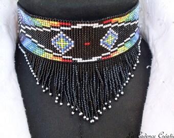 Multicolored delica beads 'Native' necklace